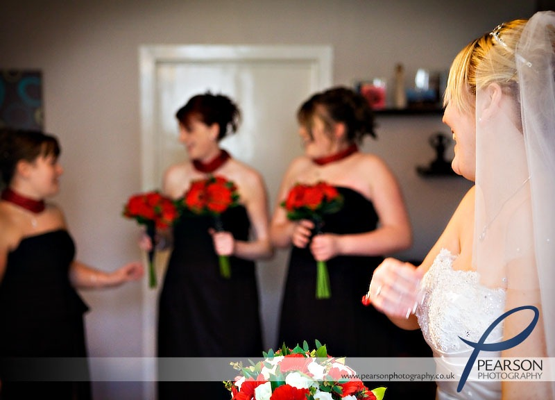 Bride Smiles at Bridesmaids